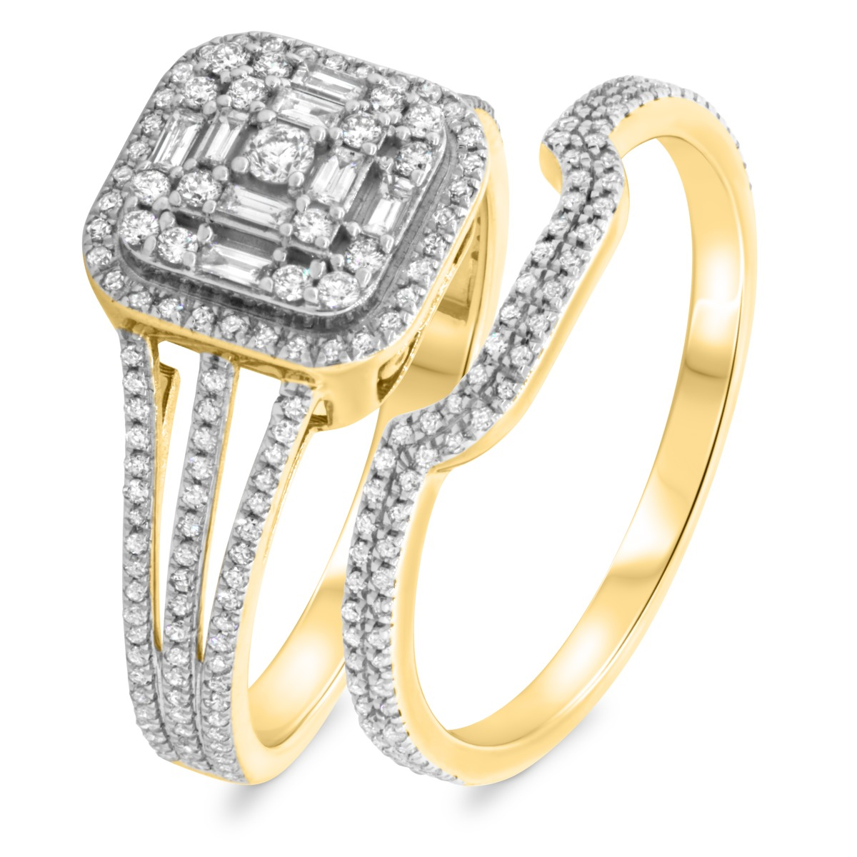 7/8 Carat T.W. Diamond Matching Bridal Ring Set 10K Yellow Gold