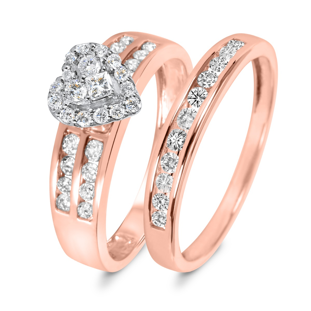 3/4 CT. T.W. Diamond Women's Bridal Wedding Ring Set 10K Rose Gold