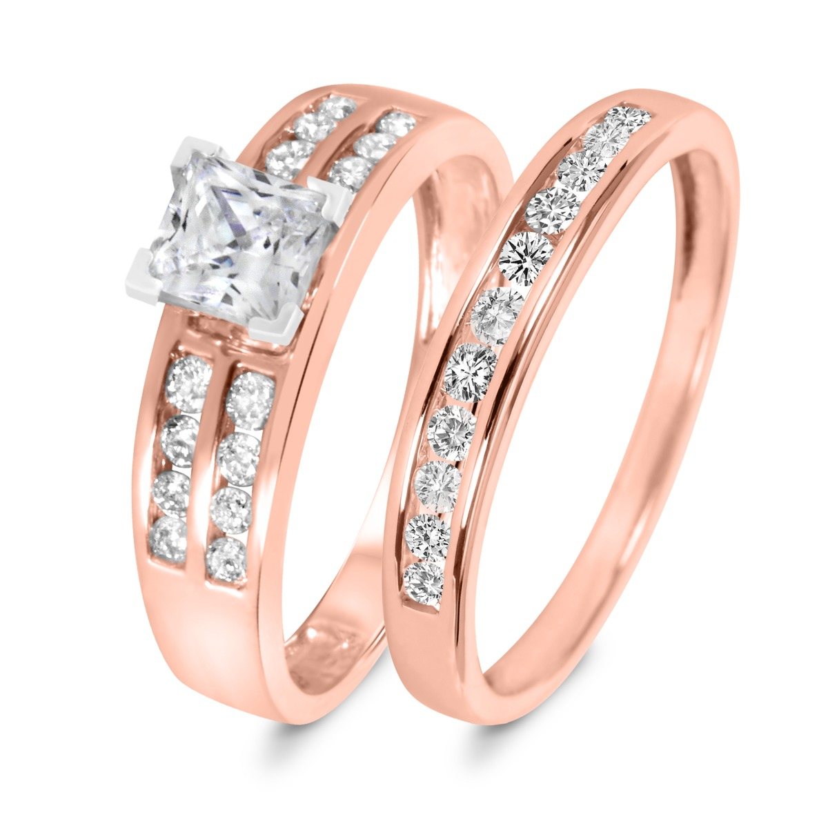 1 1/3 CT. T.W. Diamond Women's Bridal Wedding Ring Set 10K Rose Gold