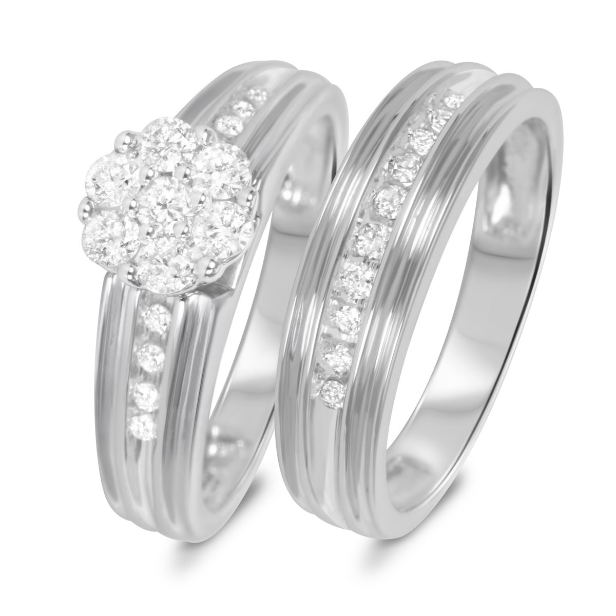 2/3 Carat T.W. Diamond Women's Bridal Wedding Ring Set 10K White Gold