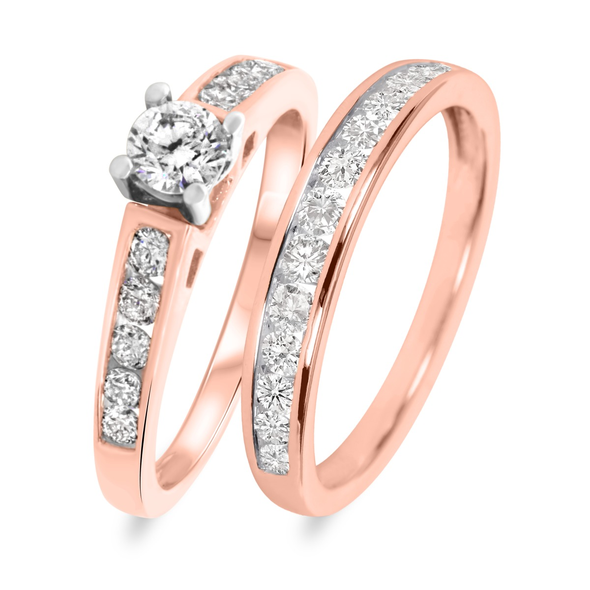 1 CT. T.W. Diamond Ladies' Bridal Wedding Ring Set 14K Rose Gold
