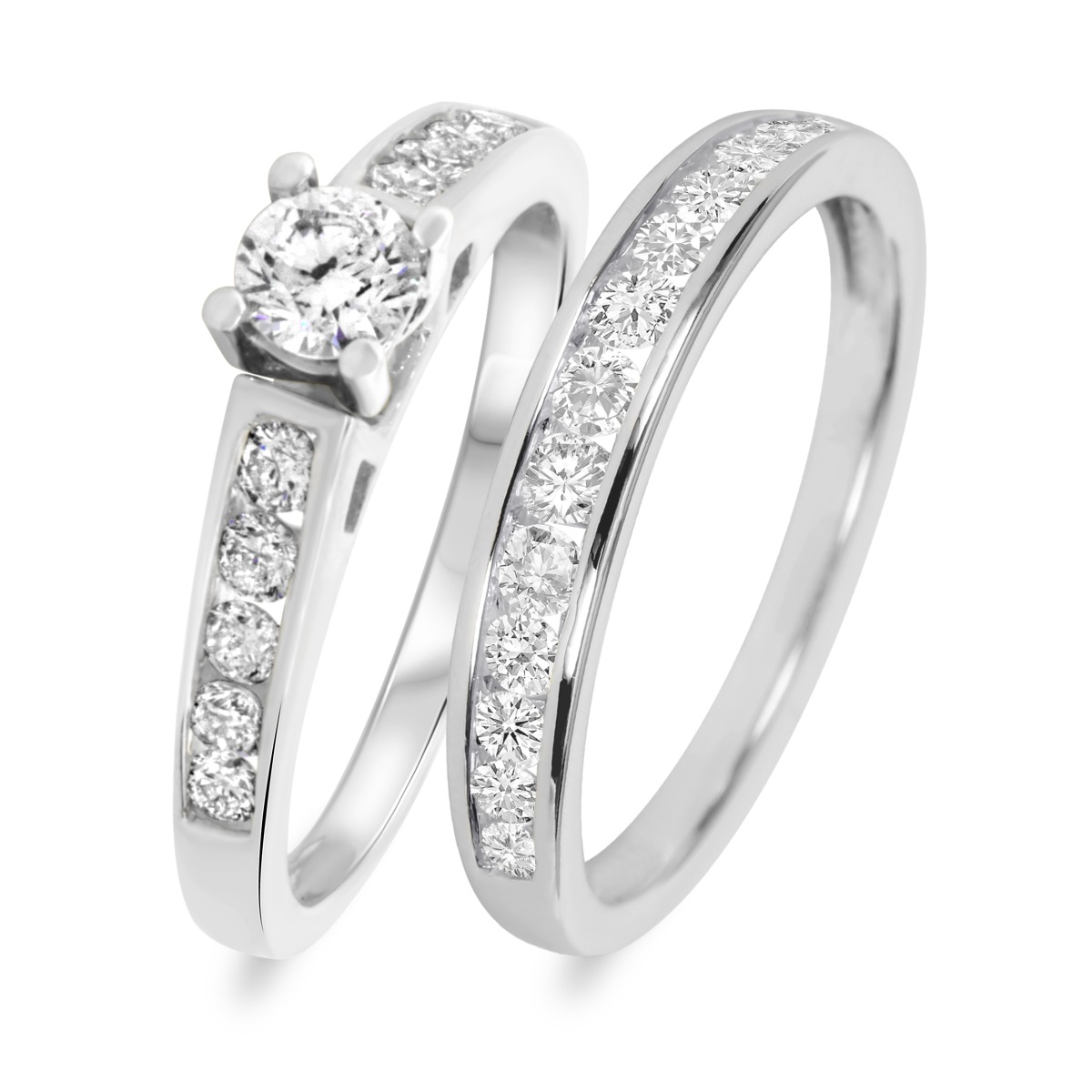 1 CT. T.W. Diamond Ladies' Bridal Wedding Ring Set 10K White Gold