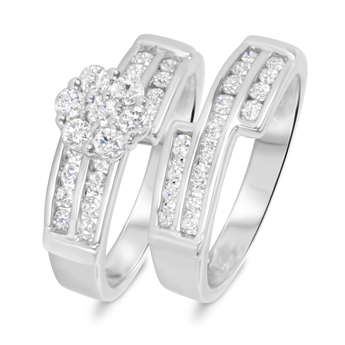 1 1/10 CT. T.W. Diamond Ladies' Bridal Wedding Ring Set 10K White Gold