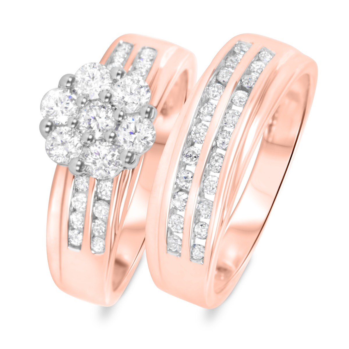 1 1/6 CT. T.W. Diamond Ladies' Bridal Wedding Ring Set 10K Rose Gold