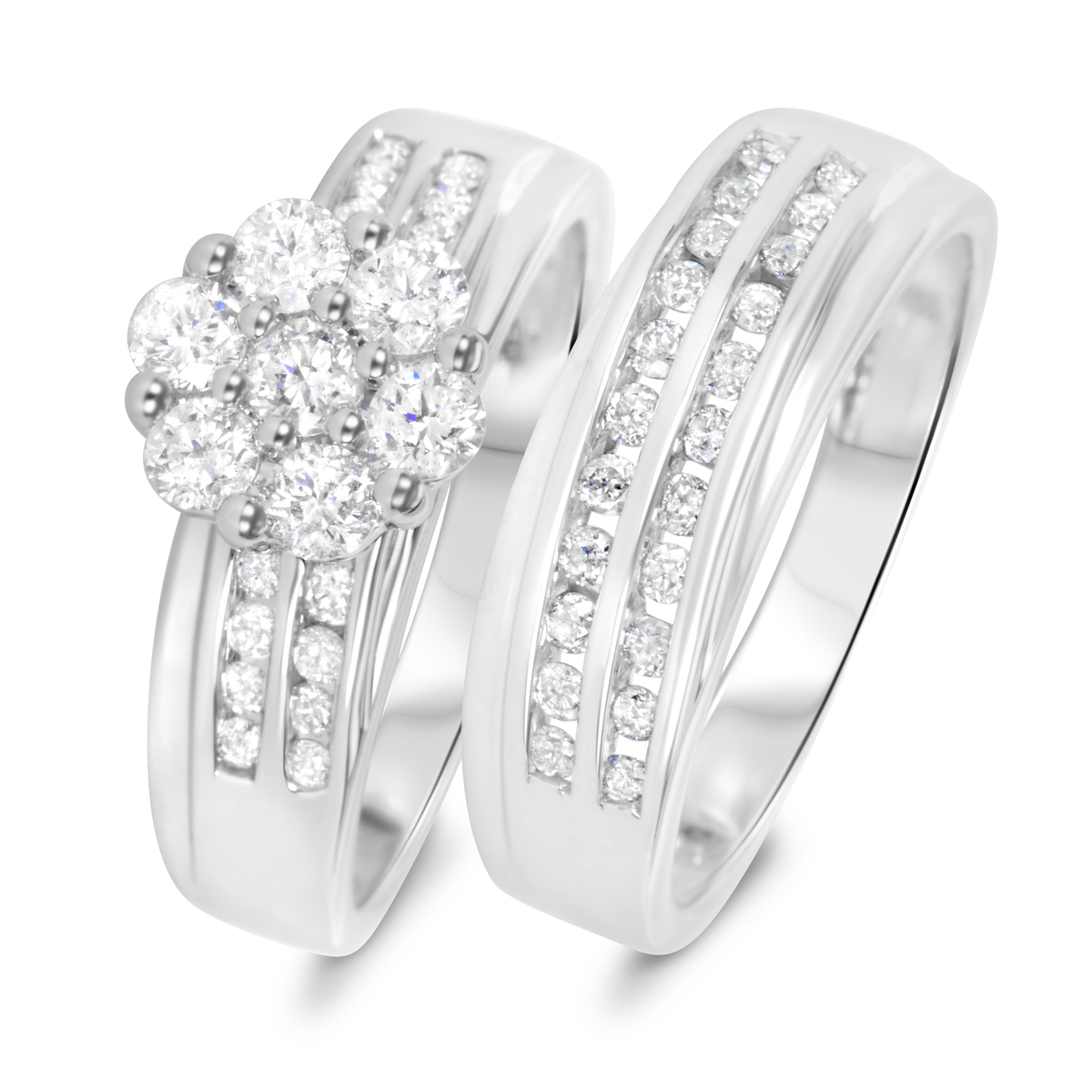 1 1/6 CT. T.W. Diamond Ladies' Bridal Wedding Ring Set 10K White Gold