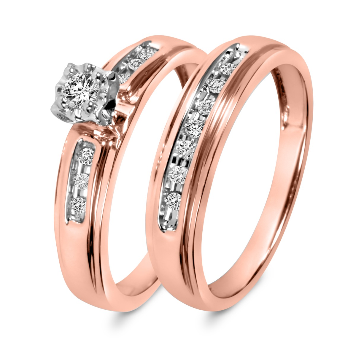 1/5 CT. T.W. Diamond Ladies' Bridal Wedding Ring Set 10K Rose Gold