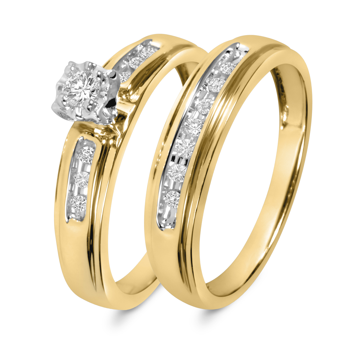 1/5 CT. T.W. Diamond Ladies' Bridal Wedding Ring Set 10K Yellow Gold