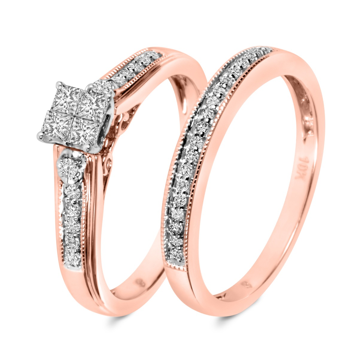 1/3 Carat T.W. Diamond Ladies' Bridal Wedding Ring Set 10K Rose Gold