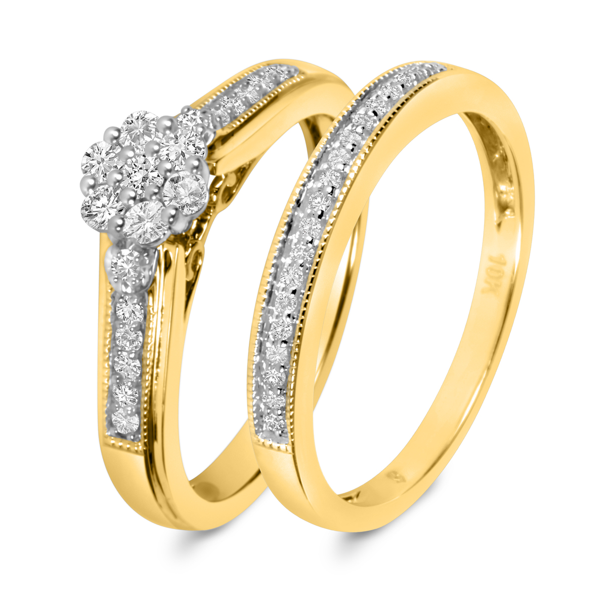 1/3 CT. T.W. Diamond Ladies' Bridal Wedding Ring Set 14K Yellow Gold