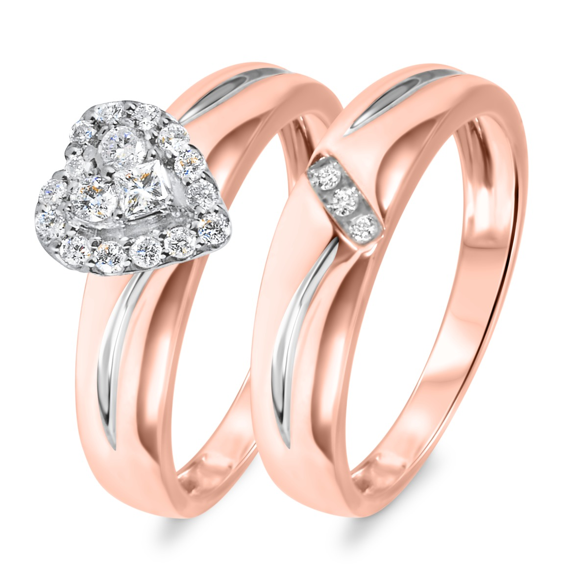 1/3 CT. T.W. Diamond Women's Bridal Wedding Ring Set 14K Rose Gold