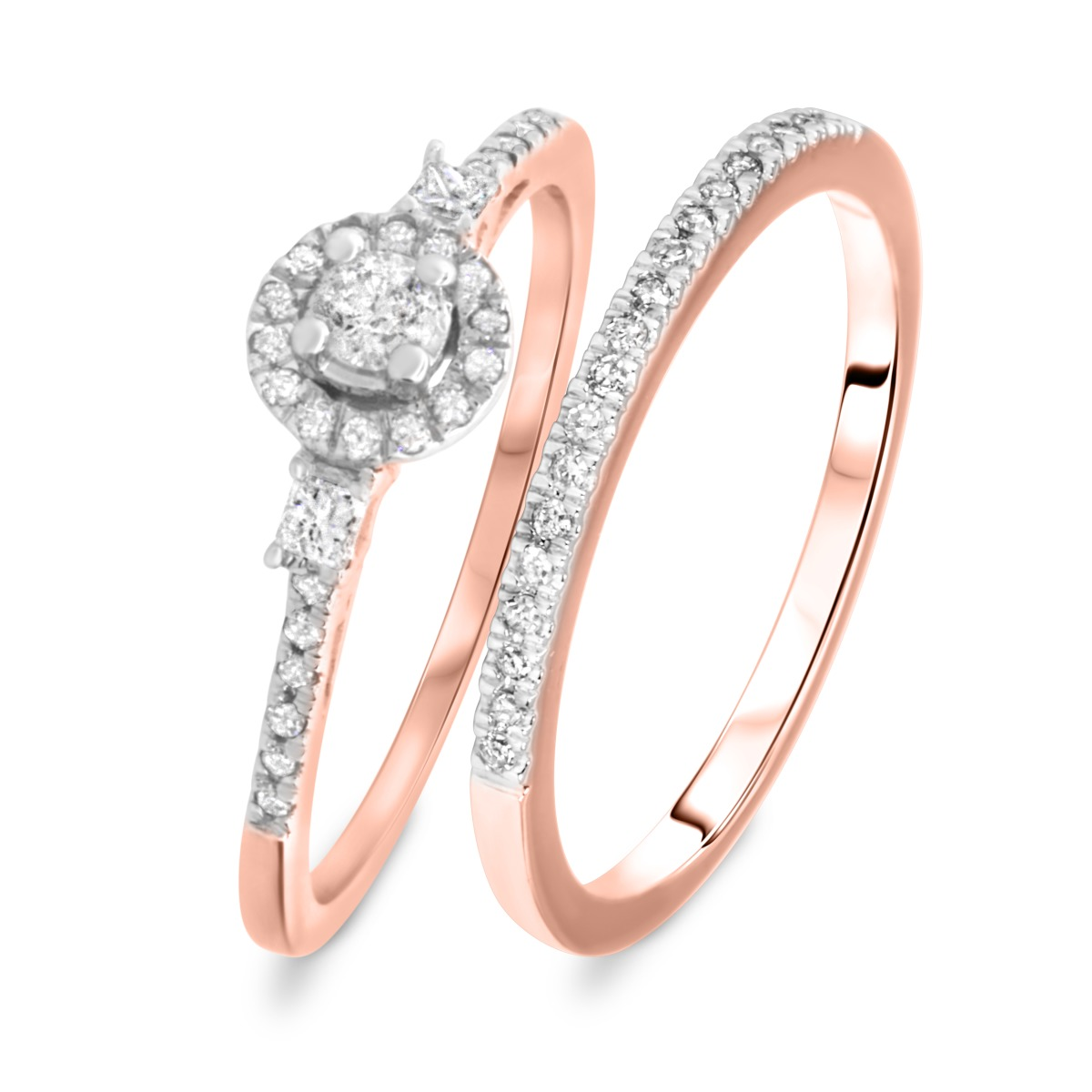 1/3 CT. T.W. Round Cut Diamond Ladies Bridal Wedding Ring Set 10K Rose Gold