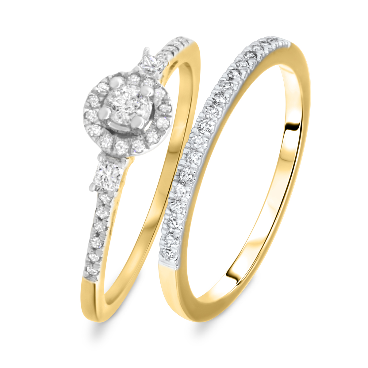 1/3 CT. T.W. Round Cut Diamond Ladies Bridal Wedding Ring Set 14K Yellow Gold