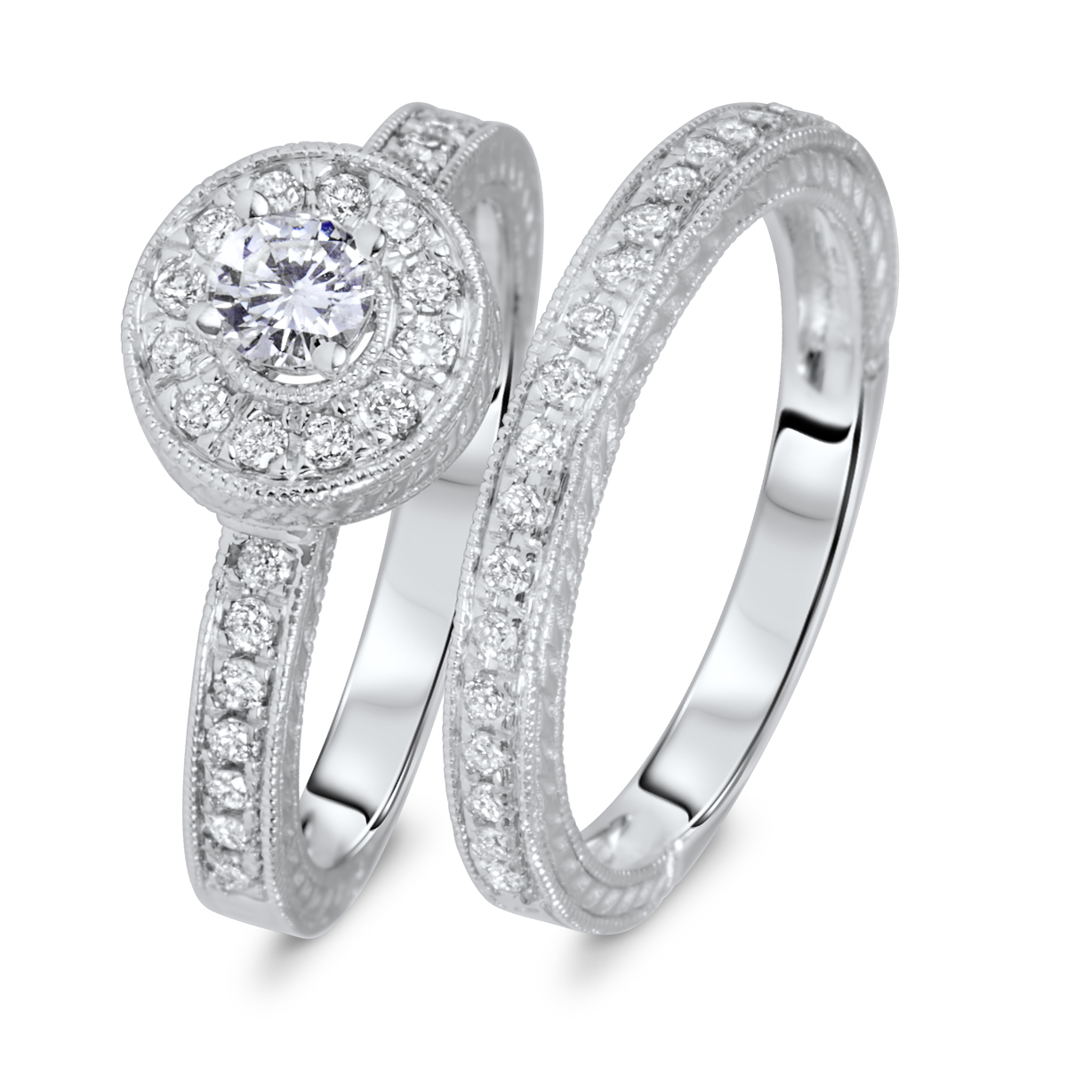 3/4 CT. T.W. Round Cut Diamond Ladies Bridal Wedding Ring Set 14K White Gold