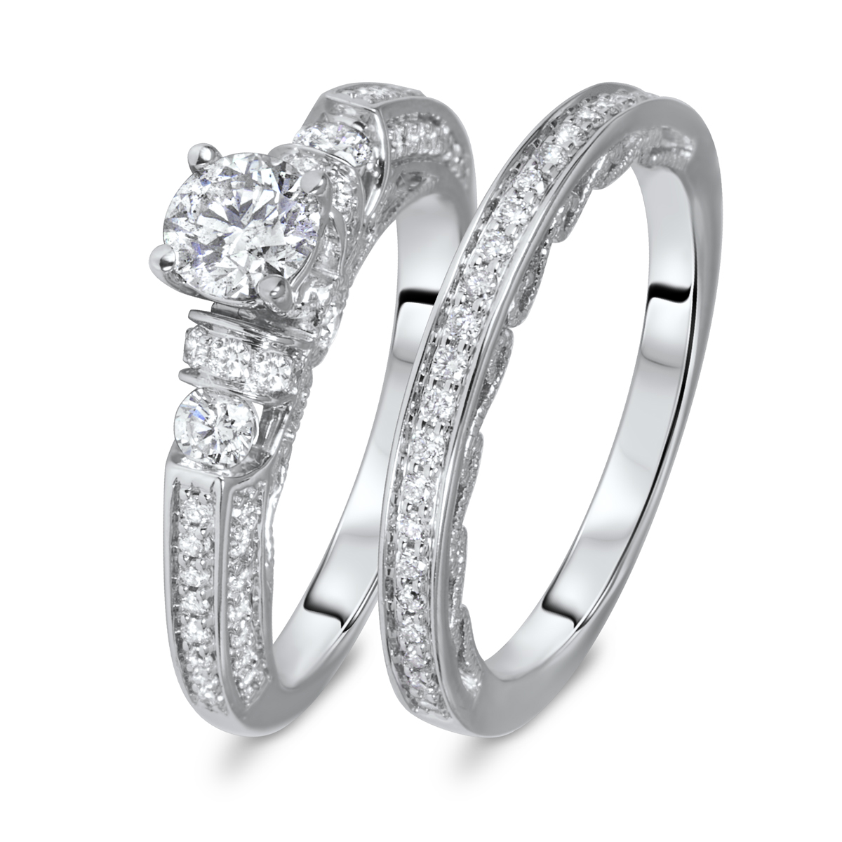 1 1/4 CT. T.W. Round Cut Diamond Ladies Bridal Wedding Ring Set 14K White Gold