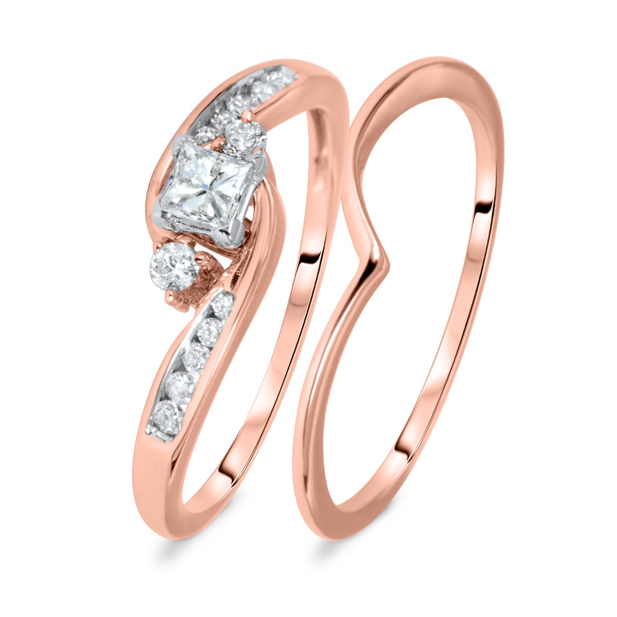 1/2 CT. T.W. Round, Princess Cut Diamond Ladies Bridal Ring Set 10K Rose Gold