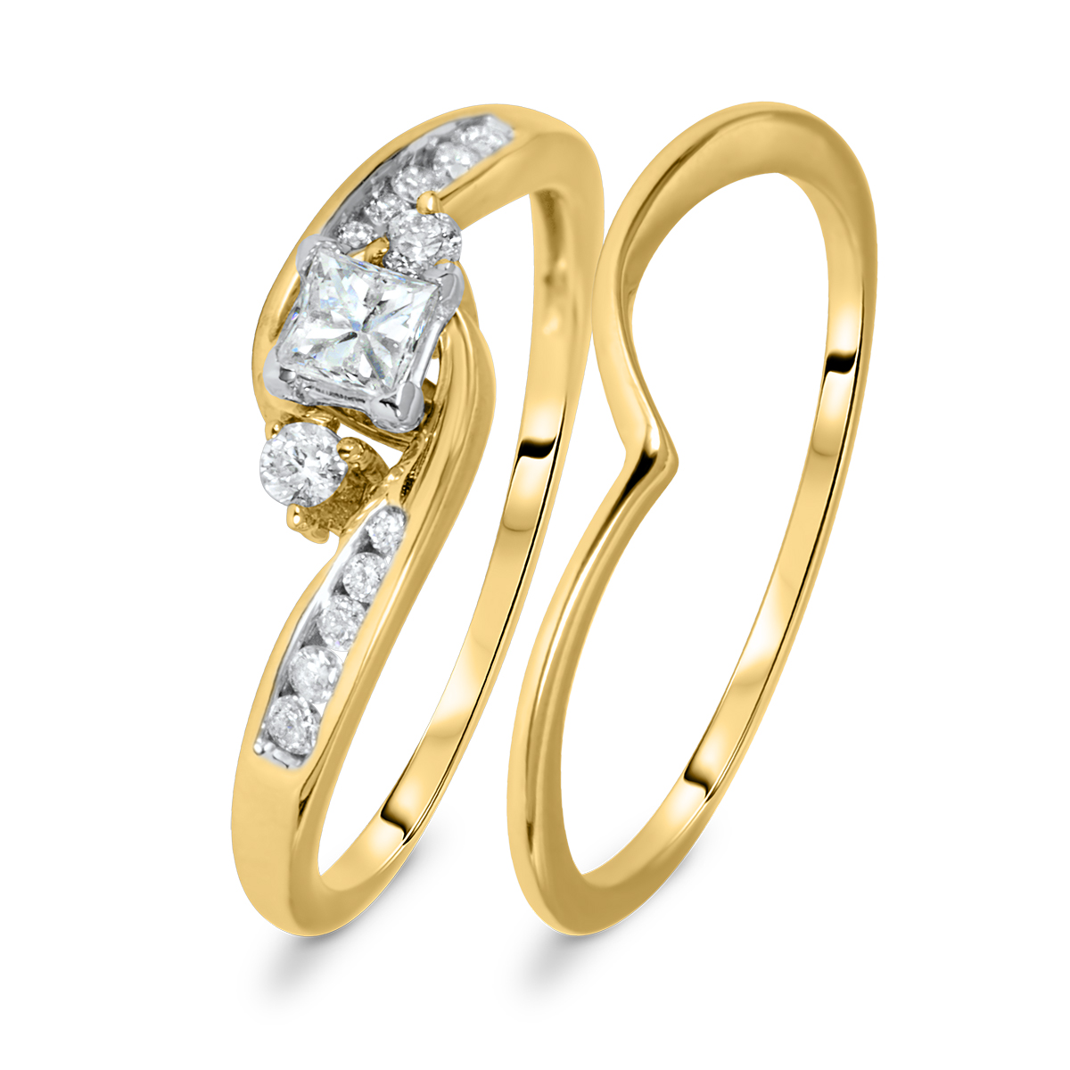 1/2 CT. T.W. Princess, Round Cut Diamond Ladies Bridal Ring Set 10K Yellow Gold