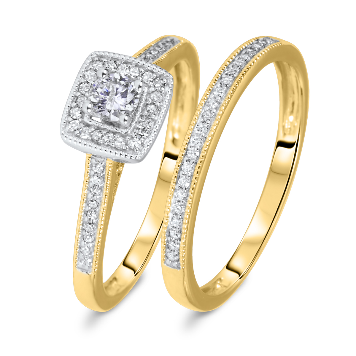 1/3 CT. T.W. Round Cut Diamond Ladies Bridal Wedding Ring Set 10K Yellow Gold