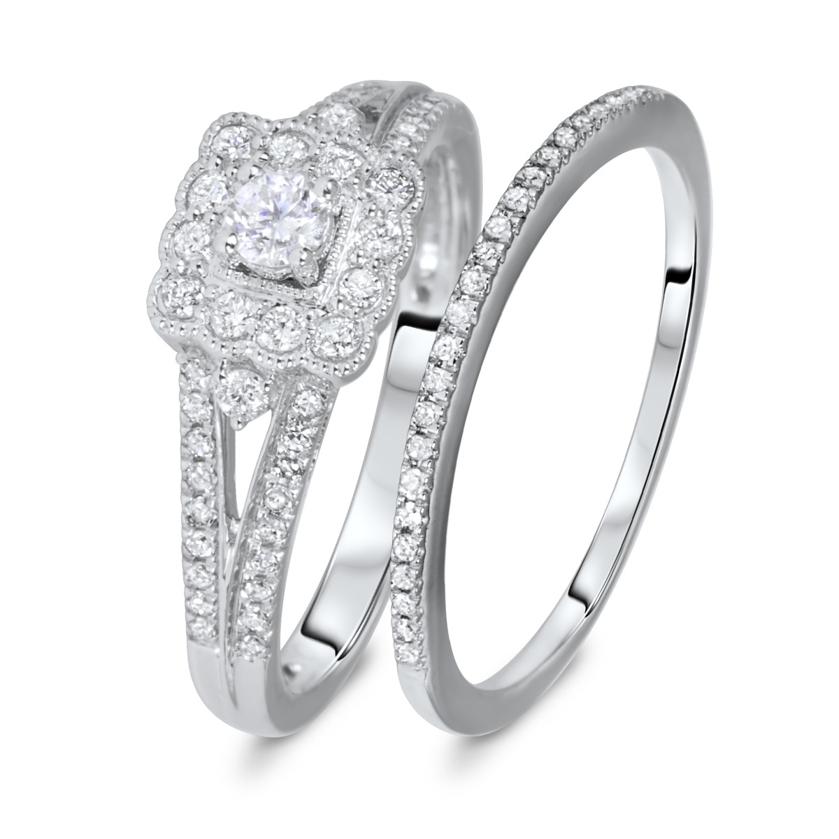 1/2 CT. T.W. Round Cut Diamond Ladies Bridal Wedding Ring Set 14K White Gold
