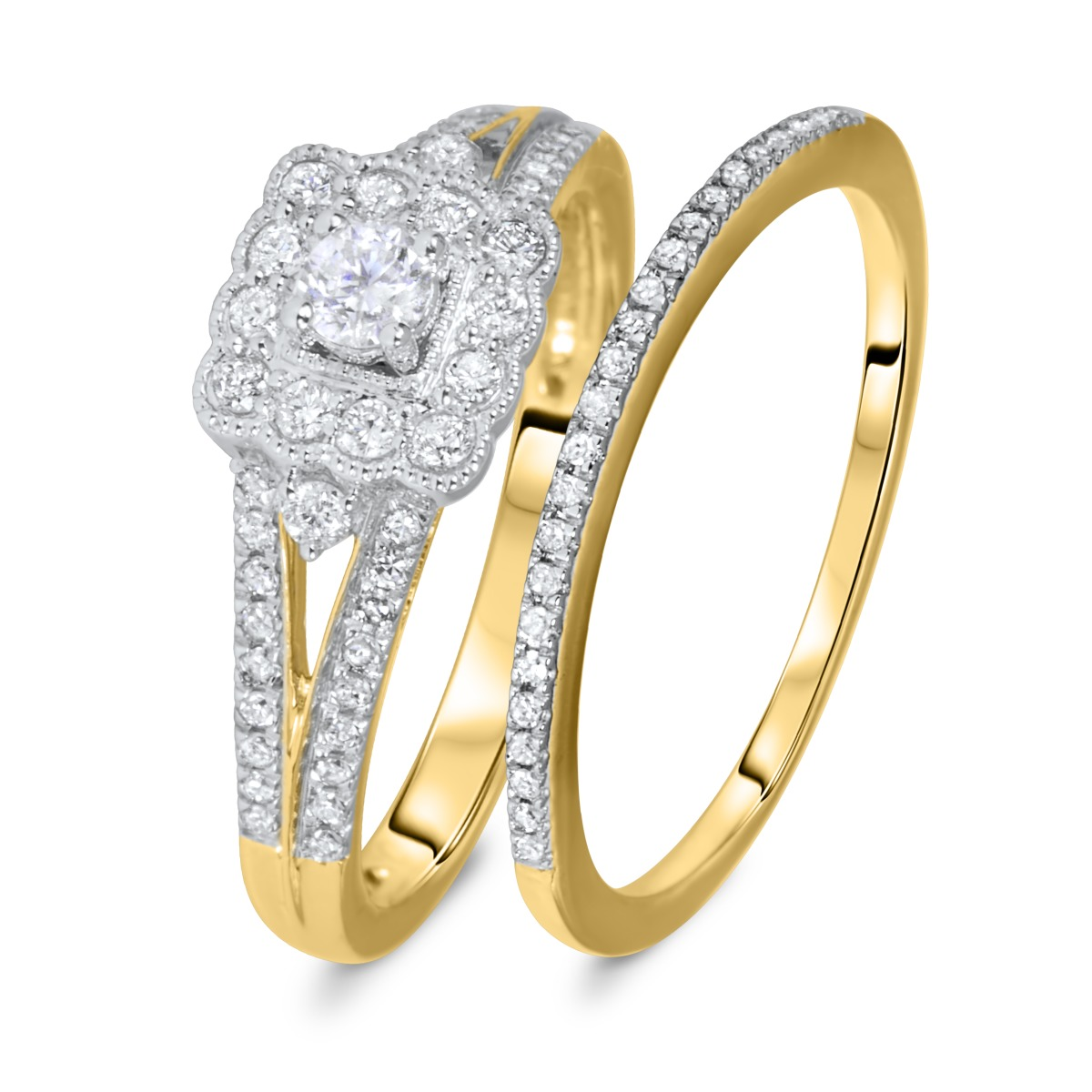 1/2 CT. T.W. Round Cut Diamond Ladies Bridal Wedding Ring Set 10K Yellow Gold