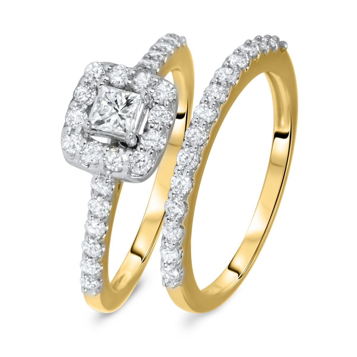 1 CT. T.W. Princess, Round Cut Diamond Ladies Bridal Ring Set 14K Yellow Gold