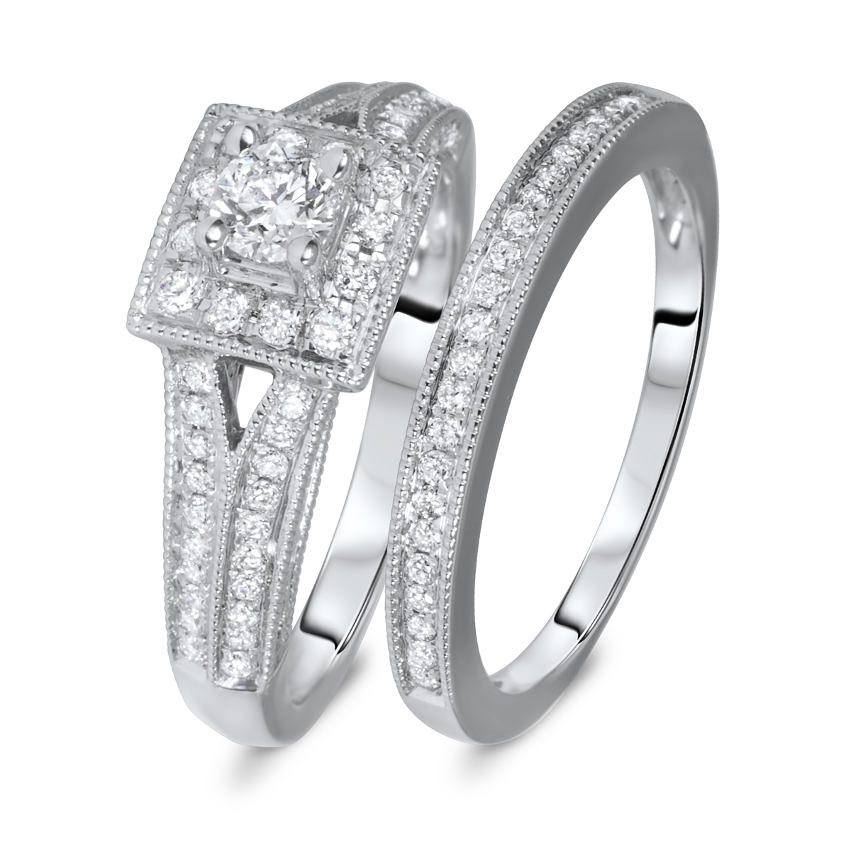 1 CT. T.W. Round Cut Diamond Ladies Bridal Wedding Ring Set 14K White Gold