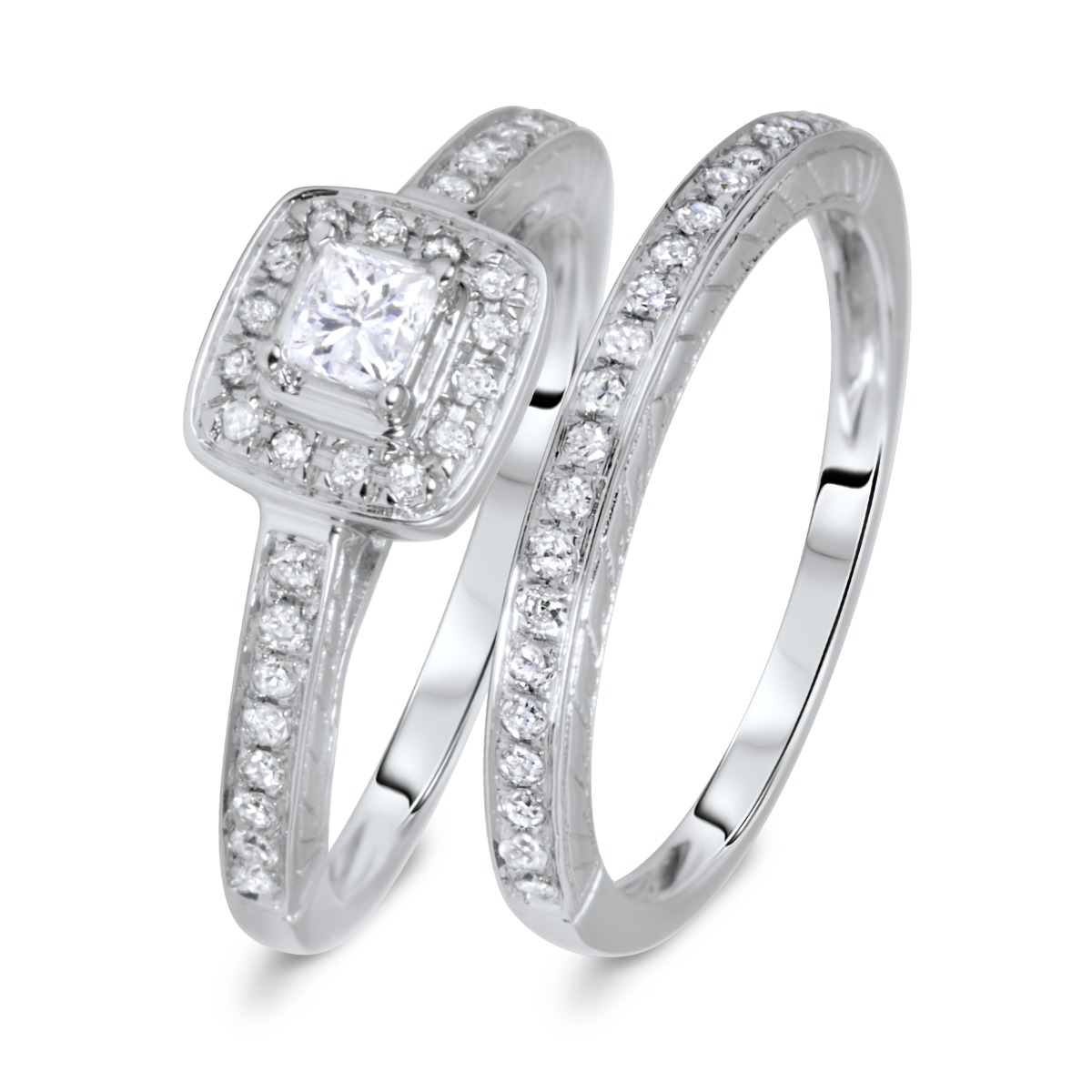 1/2 CT. T.W. Solitaire, Rounds Cut Diamond Ladies Bridal Ring Set 10K White Gold