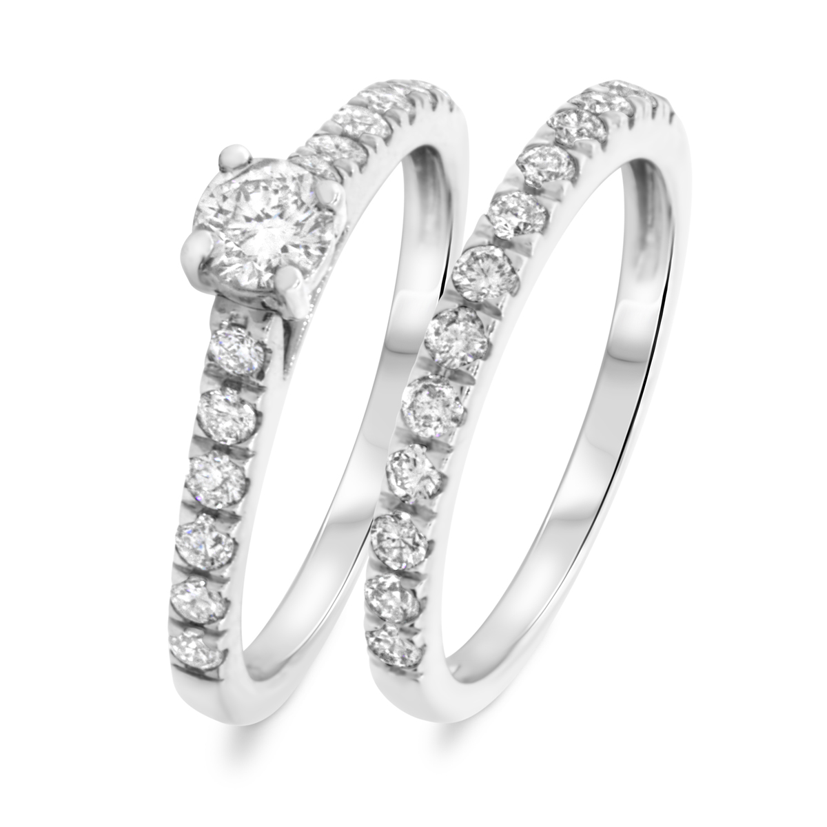 1 CT. T.W. Round Cut Diamond Ladies Bridal Wedding Ring Set 10K White Gold
