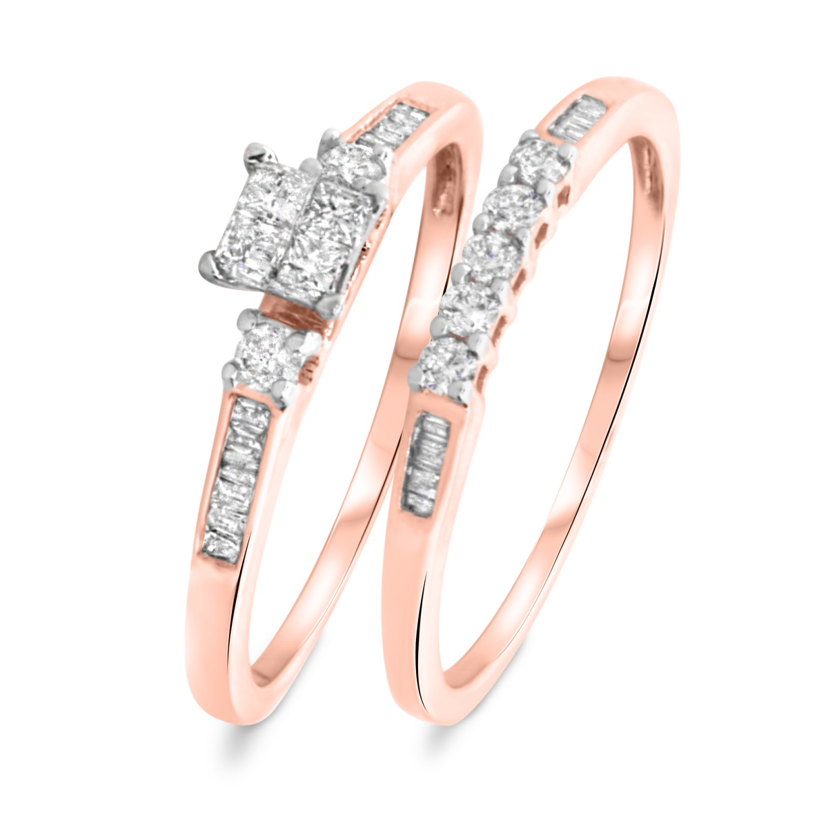 3/8 CT. T.W. Princess, Round, Baguette Cut Diamond Ladies Bridal Wedding Ring Set 10K Rose Gold