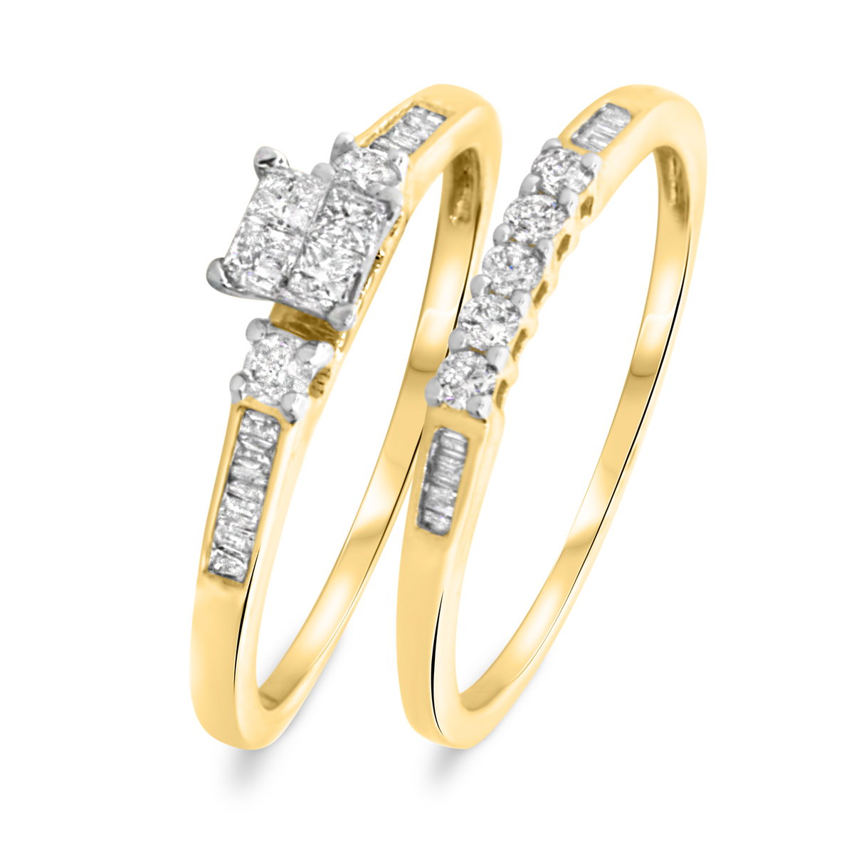3/8 CT. T.W. Princess, Round, Baguette Cut Diamond Ladies Bridal Wedding Ring Set 10K Yellow Gold