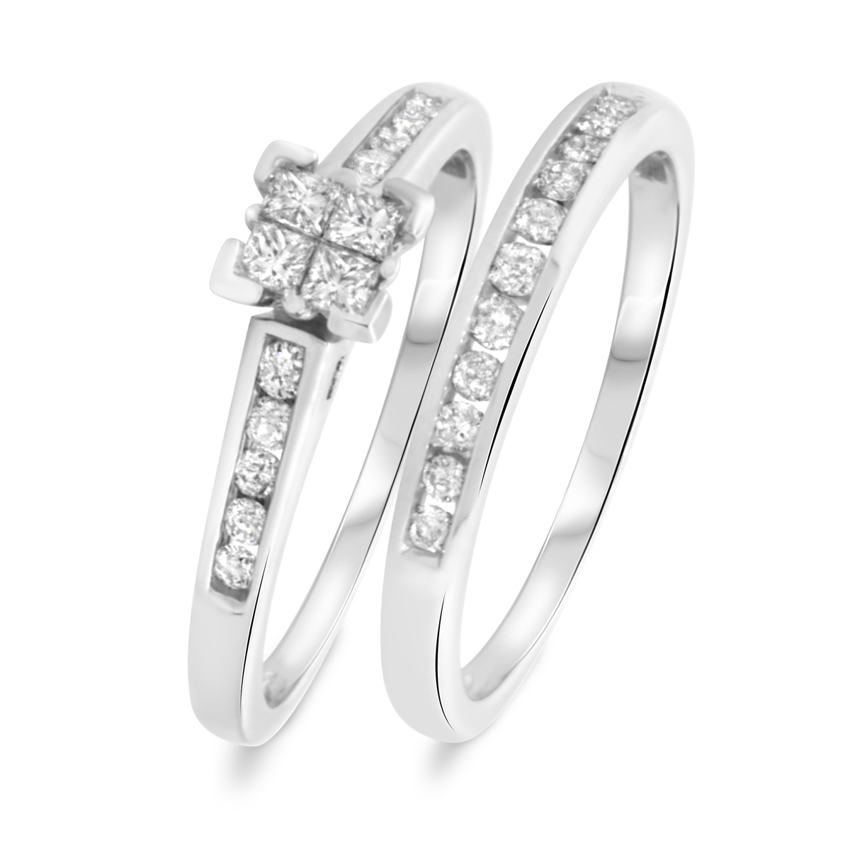 1/2 CT. T.W. Princess, Round Cut Diamond Ladies Bridal Wedding Ring Set 10K White Gold