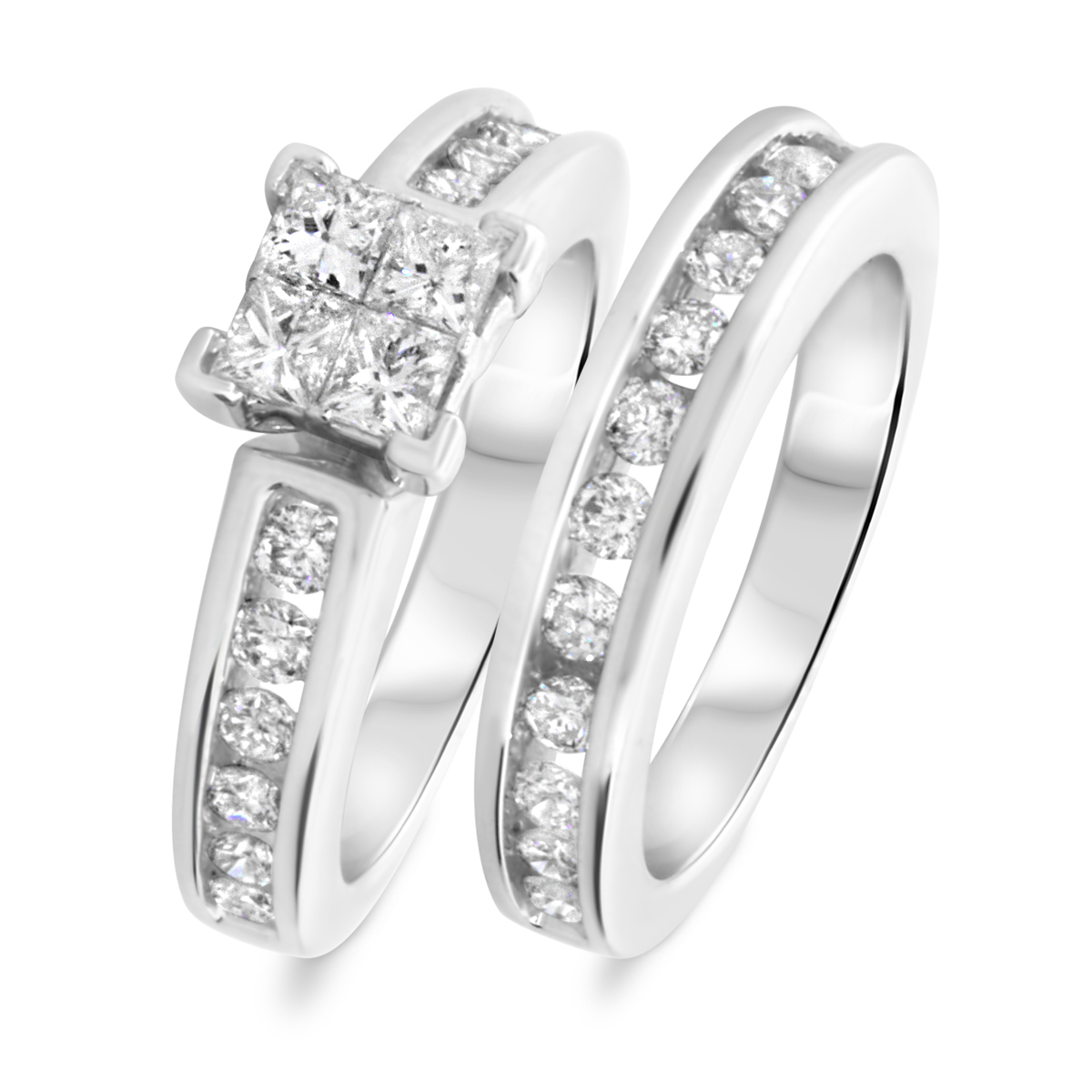 1 1/2 CT. T.W. Princess, Round Cut Diamond Ladies Bridal Wedding Ring Set 10K White Gold