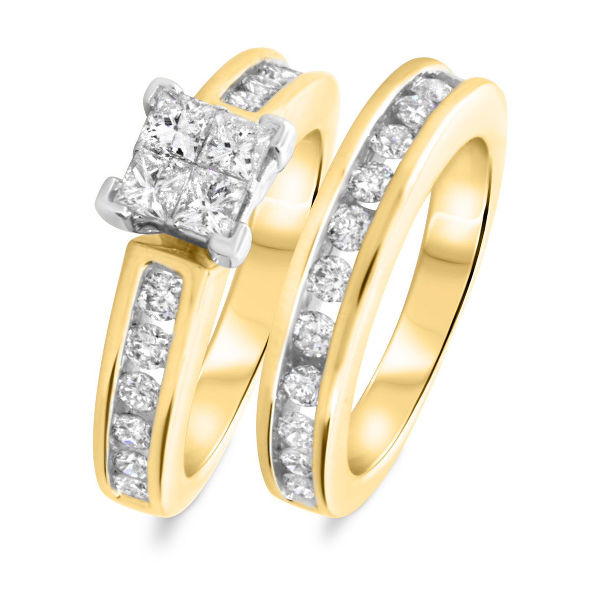 1 1/2 CT. T.W. Princess, Round Cut Diamond Ladies Bridal Wedding Ring Set 14K Yellow Gold