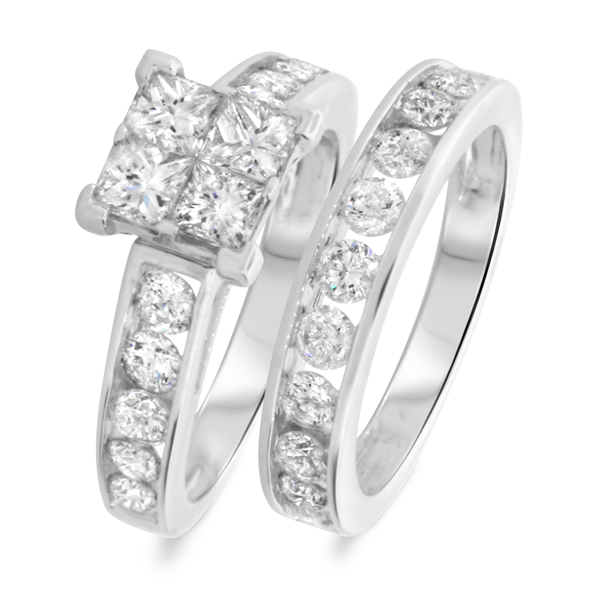 3 CT. T.W. Princess, Round Cut Diamond Ladies Bridal Wedding Ring Set 14K White Gold