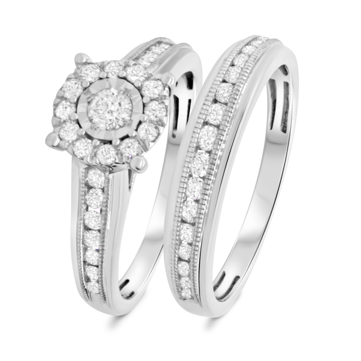 3/4 Carat T.W. Diamond Matching Bridal Ring Set 14K White Gold