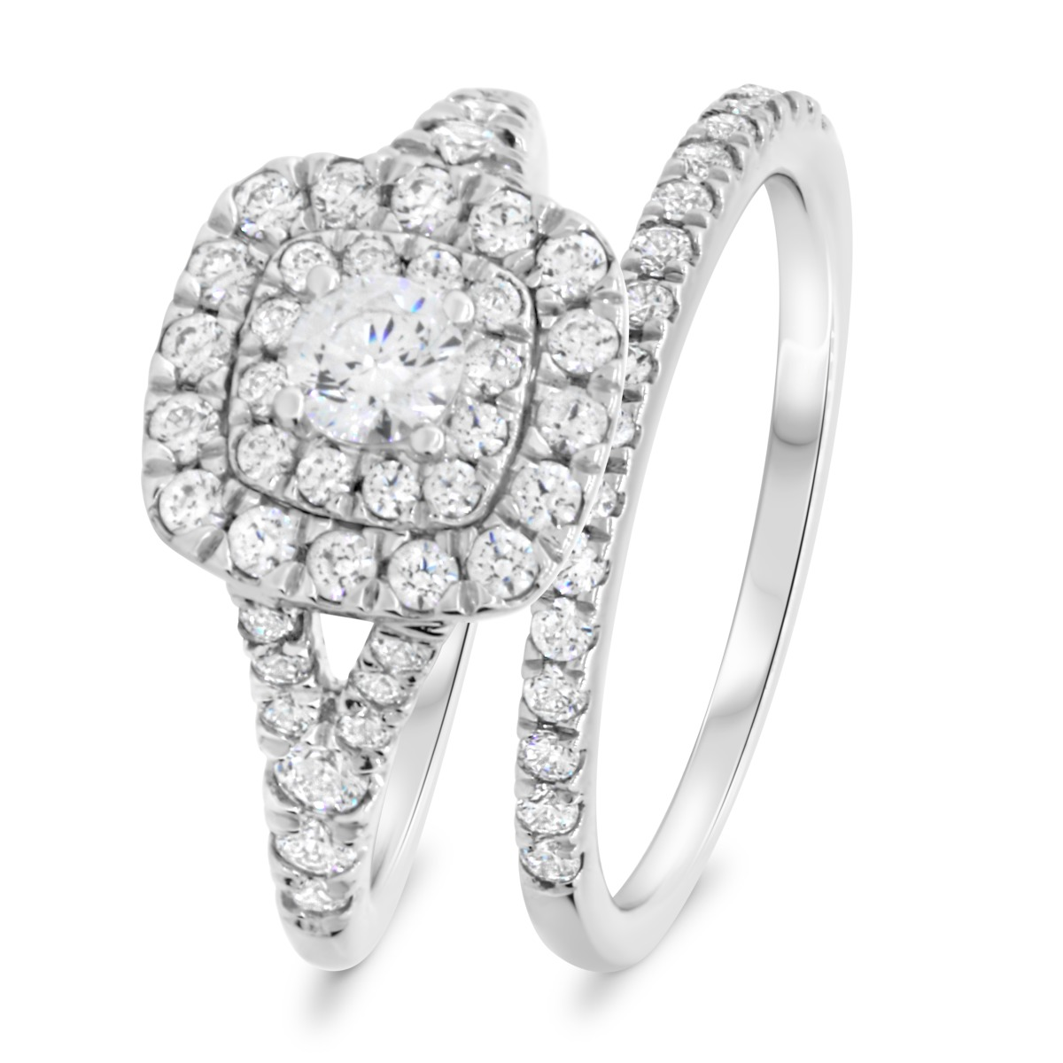 1 1/5 Carat T.W. Diamond Matching Bridal Ring Set 14K White Gold