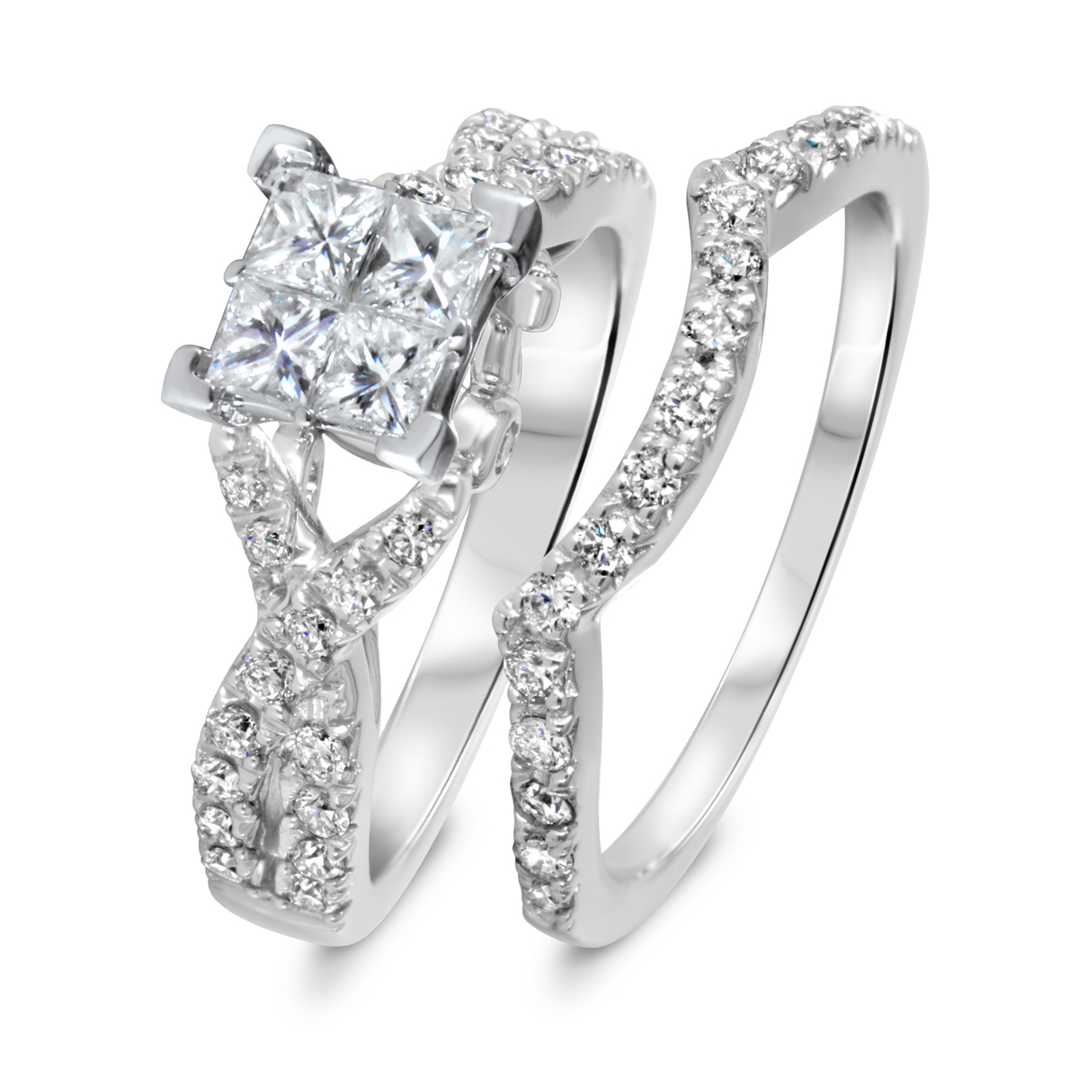 1 3/8 CT. T.W. Diamond Women's Bridal Wedding Ring Set 14K White Gold