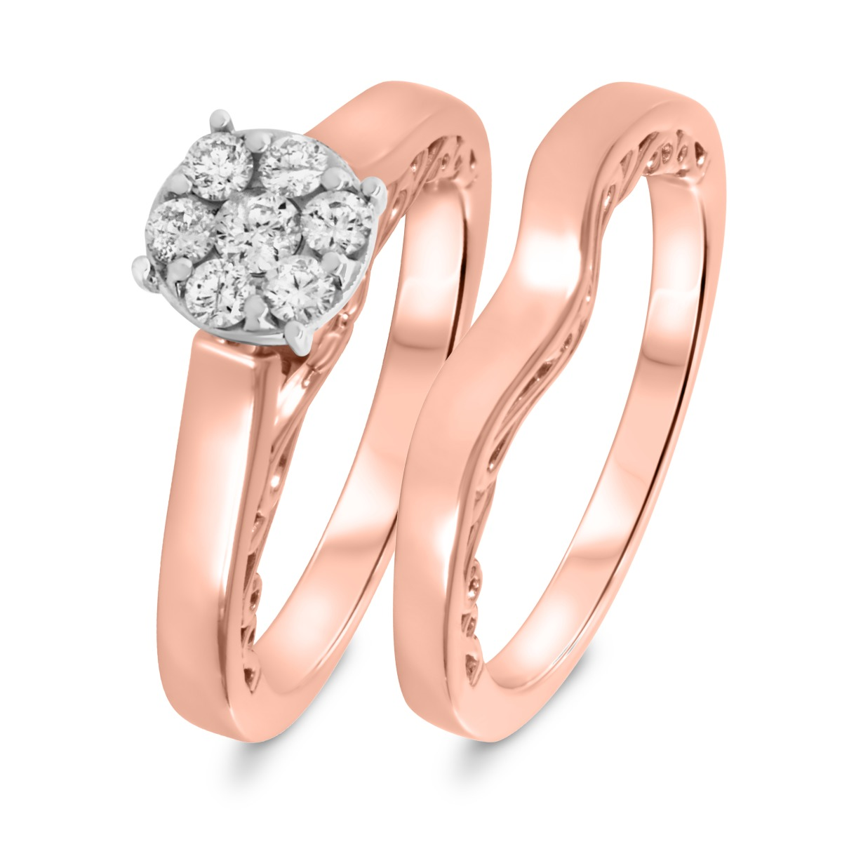 1/5 CT. T.W. Diamond Women's Bridal Wedding Ring Set 10K Rose Gold