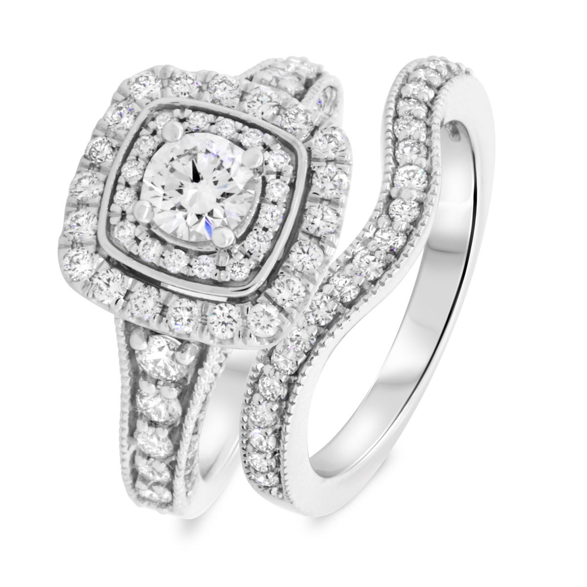 1 2/3 CT. T.W. Round Cut Diamond Ladies Bridal Wedding Ring Set 14K White Gold