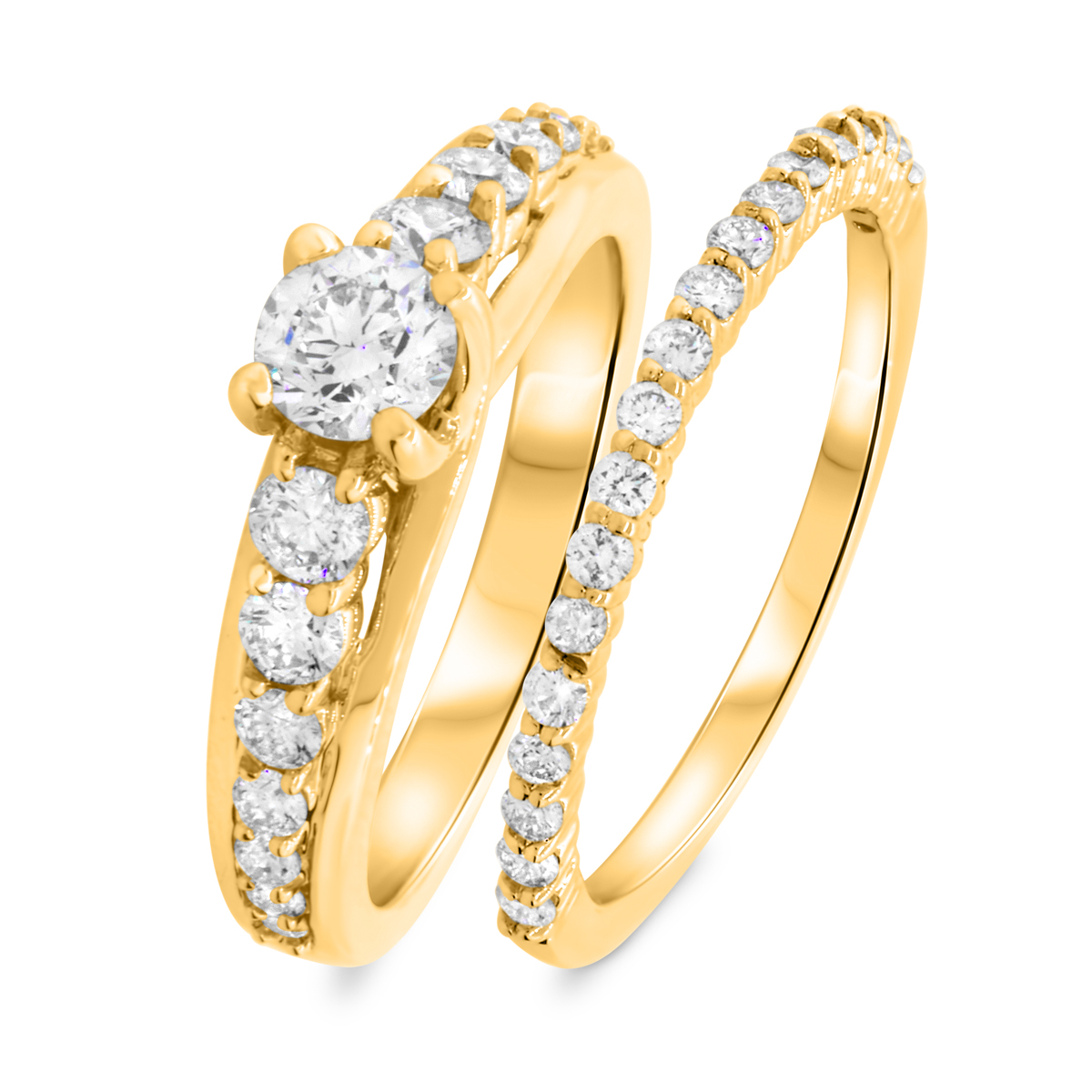 1 1/3 CT. T.W. Round Cut Diamond Ladies Bridal Wedding Ring Set 10K Yellow Gold