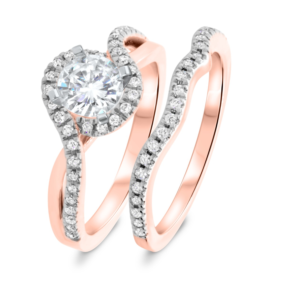 1 CT. T.W. Diamond Women's Bridal Wedding Ring Set 14K Rose Gold
