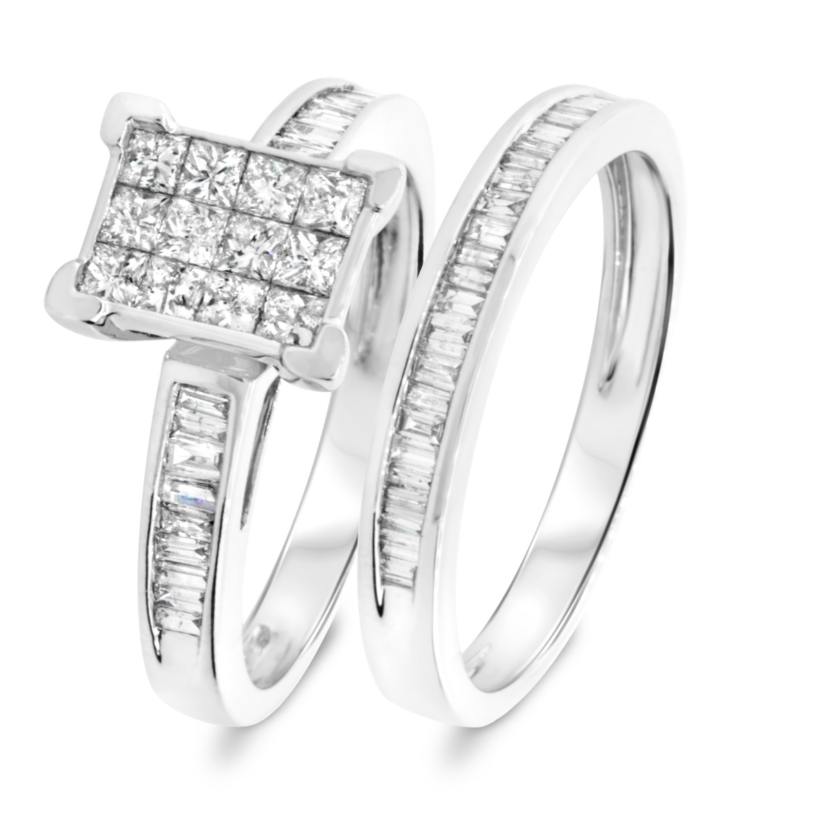 1 1/10 CT. T.W. Princess, Baguette Cut Diamond Ladies Bridal Wedding Ring Set 14K White Gold