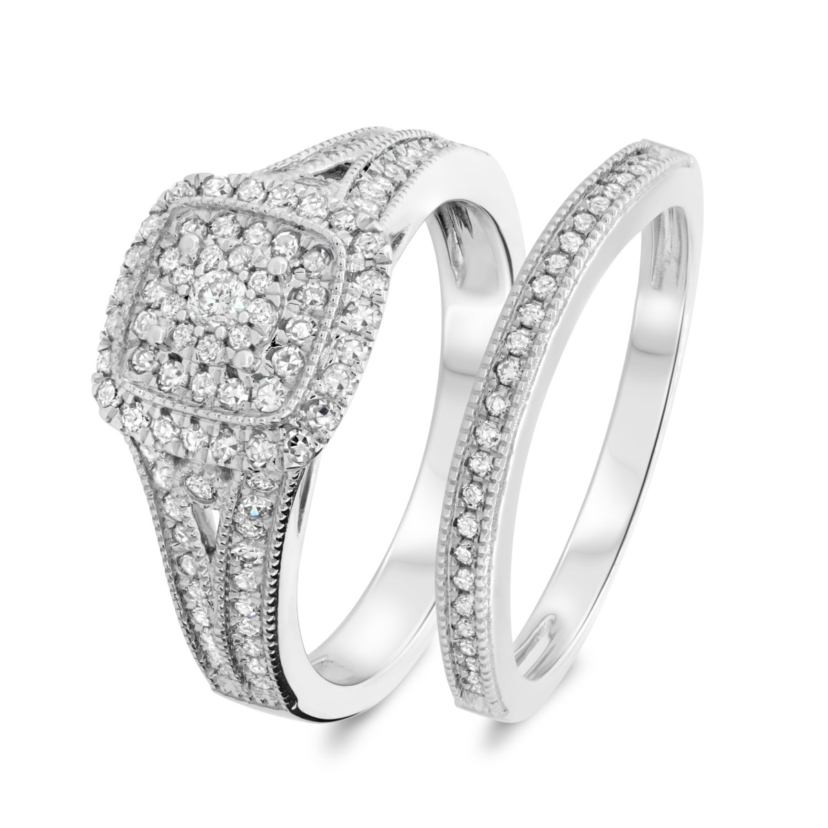 2/3 CT. T.W. Diamond Matching Bridal Ring Set 14K White Gold