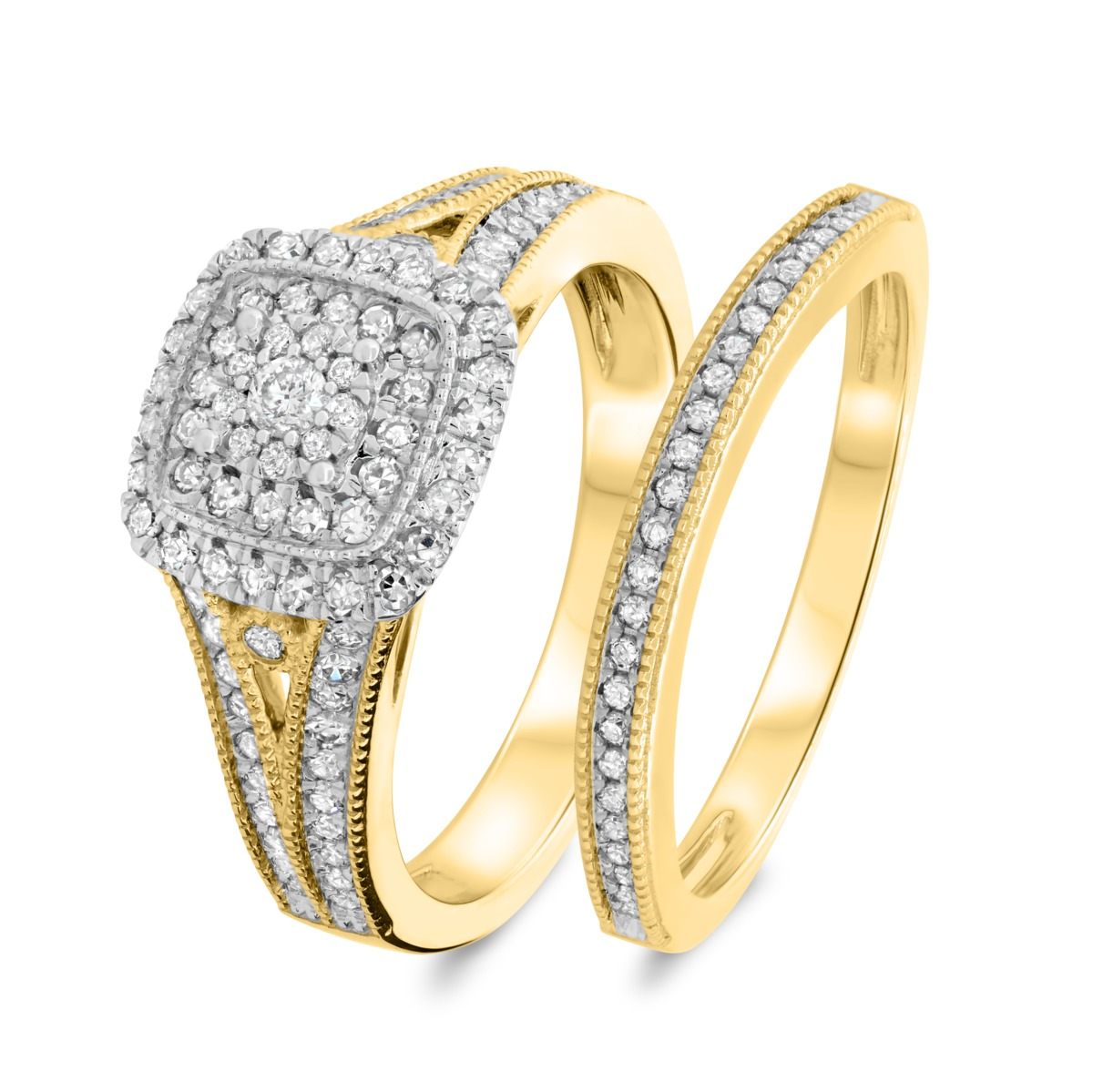 2/3 CT. T.W. Diamond Matching Bridal Ring Set 14K Yellow Gold