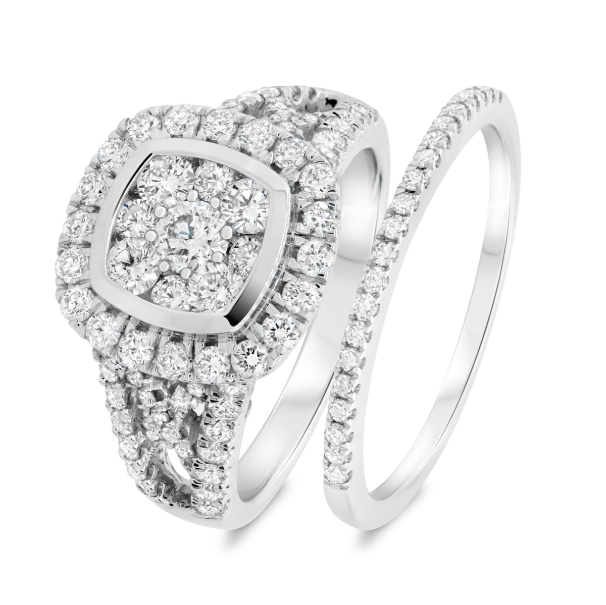 2 1/10 Carat T.W. Diamond Matching Bridal Ring Set 14K White Gold