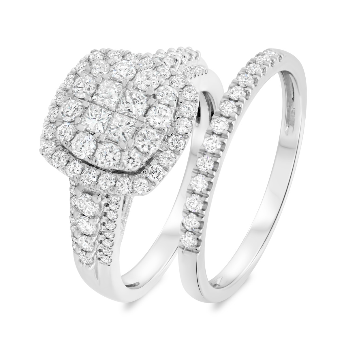 1 1/2 Carat T.W. Diamond Matching Bridal Ring Set 14K White Gold