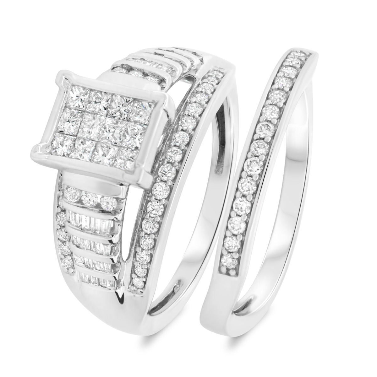1 1/10 CT. T.W. Diamond Matching Bridal Ring Set 14K White Gold