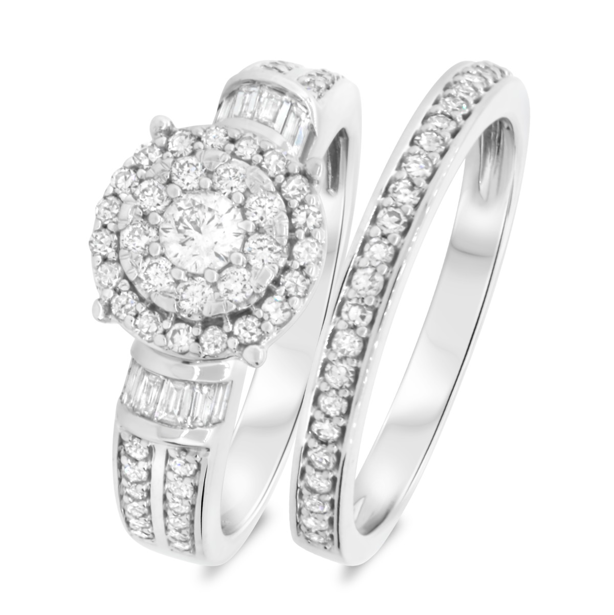 1 Carat T.W. Diamond Matching Bridal Ring Set 14K White Gold