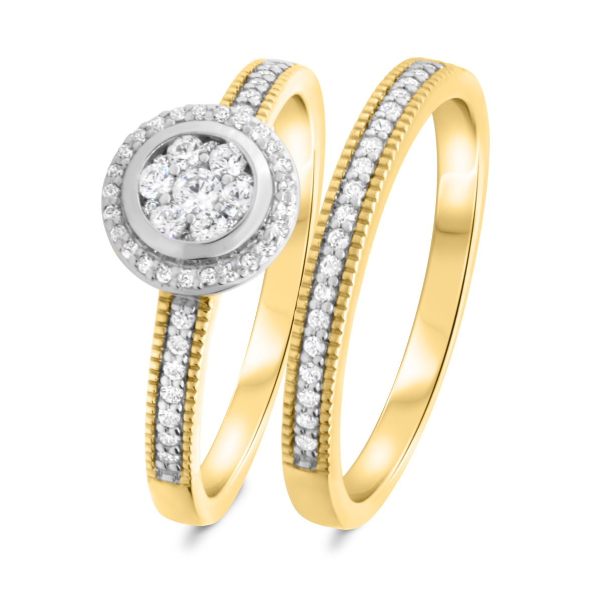 1/2 CT. T.W. Diamond Matching Bridal Ring Set 14K Yellow Gold