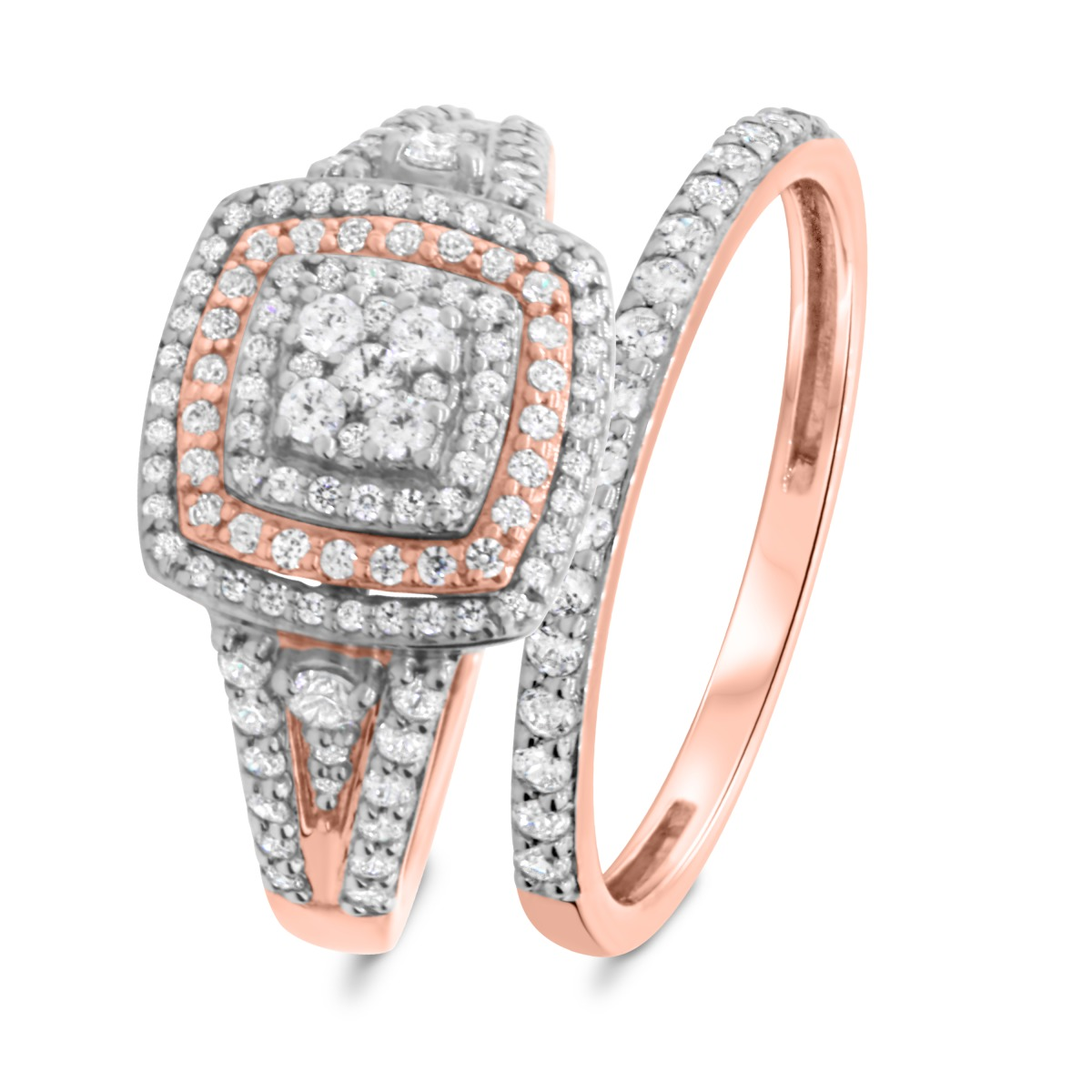 1 CT. T.W. Diamond Matching Bridal Ring Set 14K Rose Gold