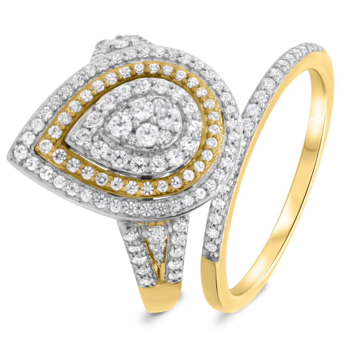 1 Carat T.W. Diamond Matching Bridal Ring Set 14K Yellow Gold